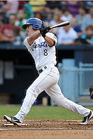 Asheville Tourists second baseman Sam Mende #8 swings at a pitch during a game against the Rome Braves at McCormick Field on June 23, 2012 in Asheville, North Carolina.  The Braves defeated the Tourists 4-2. (Tony Farlow/Four Seam Images).