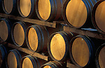 Oak wine barrels at Lange Winery; Dundee, Willamette Valley, Oregon.