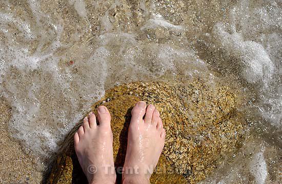 trent feet on the beach on the NW coast of Spain<br />