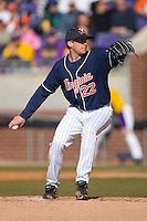 Starting pitcher Robert Morey #22 of the Virginia Cavaliers in action versus the East Carolina Pirates at Clark-LeClair Stadium on February 20, 2010 in Greenville, North Carolina.   Photo by Brian Westerholt / Four Seam Images