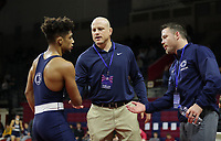 PHILADELPHIA, PA - NOVEMBER 18: Roman Bravo-Young of the Penn State Nittany Lions is congratulated by head coach Cael Sanderson (center) and assistant coach Cody Sanderson after winning the 133 pound championship match at the Keystone Classic on November 18, 2018 at The Palestra on the campus of the University of Pennsylvania in Philadelphia, Pennsylvania. (Photo by Hunter Martin/Getty Images) *** Local Caption *** Roman Bravo-Young;Cael Sanderson;Cody Sanderson