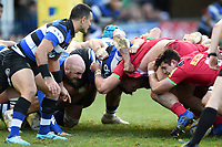 A general view of a scrum. Aviva Premiership match, between Bath Rugby and Harlequins on November 25, 2017 at the Recreation Ground in Bath, England. Photo by: Patrick Khachfe / Onside Images