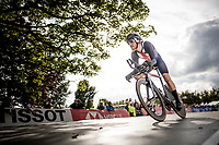 Quinn Simmons (USA) off the start ramp<br /> at the Men Junior Individual Time Trial<br /> <br /> 2019 Road World Championships Yorkshire (GBR)<br /> <br /> ©kramon