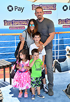 "Steve Howey, Sarah Shahi, Violet Howey, William Howey & Knox Howey at the world premiere for ""Hotel Transylvania 3: Summer Vacation"" at the Regency Village Theatre, Los Angeles, USA 30 June 2018<br /> Picture: Paul Smith/Featureflash/SilverHub 0208 004 5359 sales@silverhubmedia.com"