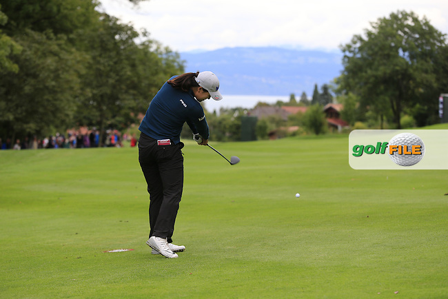 In Gee Chun (KOR) plays her 2nd shot on the 13th hole during Saturday's Round 3 of The 2016 Evian Championship held at Evian Resort Golf Club, Evian-les-Bains, France. 17th September 2016.<br /> Picture: Eoin Clarke | Golffile<br /> <br /> <br /> All photos usage must carry mandatory copyright credit (&copy; Golffile | Eoin Clarke)