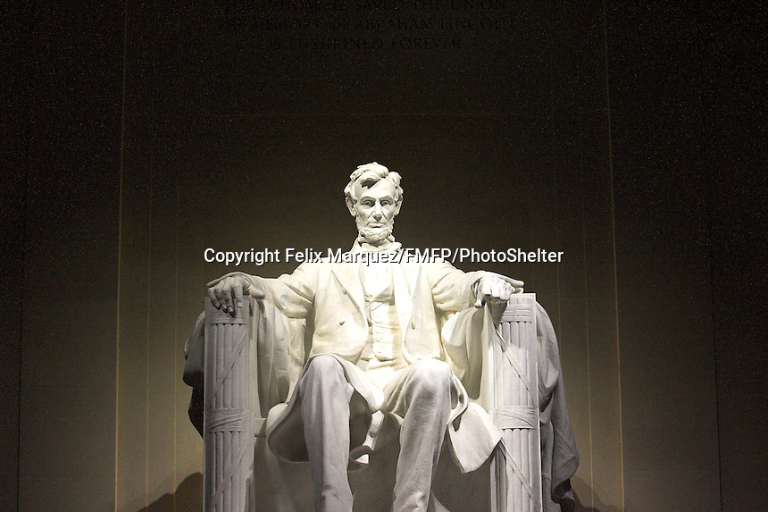 The Lincoln Memorial in Washington, D.C. with a much bigger than life statue of Abraham Lincoln