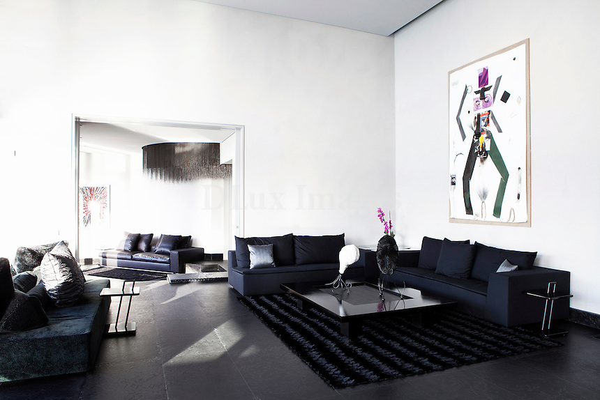 modern black living room