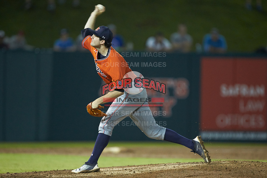 Auburn Tigers starting pitcher Casey Mize (32) in action against the Army Black Knights at Doak Field at Dail Park on June 2, 2018 in Raleigh, North Carolina. The Tigers defeated the Black Knights 12-1. (Brian Westerholt/Four Seam Images)