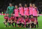 5th October 2017, Hampden Park, Glasgow, Scotland; FIFA World Cup Qualification, Scotland versus Slovakia;  Scotland players line up pre match