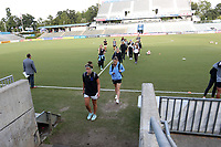 Cary, North Carolina  - Saturday September 09, 2017: Houston Dash players head to their locker room prior to a regular season National Women's Soccer League (NWSL) match between the North Carolina Courage and the Houston Dash at Sahlen's Stadium at WakeMed Soccer Park. The Courage won the game 1-0.