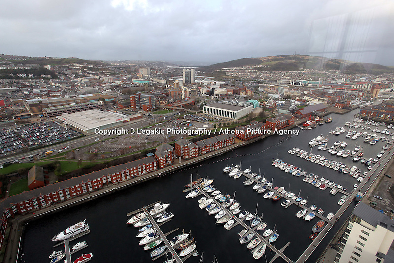 Pictured: general view of Swansea city centre and Swansea Marina as seen from the Penthouse restaurant<br />