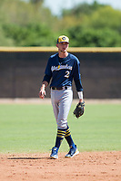 Milwaukee Brewers shortstop Brice Turang (2) during an Instructional League game against the San Diego Padres at Peoria Sports Complex on September 21, 2018 in Peoria, Arizona. (Zachary Lucy/Four Seam Images)