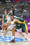 07.09.2014. Barcelona, Spain. 2014 FIBA Basketball World Cup, round of 16. Picture show J. Valanciunasa and R. Loe  in action during game between New Zealand   v  Lithuania at Palau St. Jordi