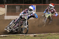 Heat 4: Rob Mear (blue) and Justin Sedgmen - Lakeside Hammers vs Peterborough Panthers - Sky Sports Elite League Speedway at Arena Essex Raceway, Purfleet - 14/09/12 - MANDATORY CREDIT: Gavin Ellis/TGSPHOTO - Self billing applies where appropriate - 0845 094 6026 - contact@tgsphoto.co.uk - NO UNPAID USE.