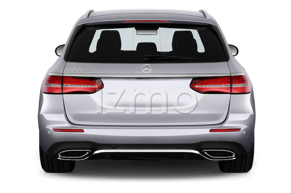 Straight rear view of 2017 Mercedes Benz E-Class Launch-Edition 5 Door wagon Rear View  stock images