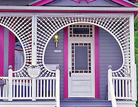 Decorative door of house in Astoria, Oregon.