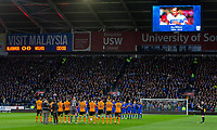 Respects are paid to Ray Wilkins ahead of the Sky Bet Championship match between Cardiff City and Wolverhampton Wanderers at the Cardiff City Stadium, Cardiff, Wales on 6 April 2018. Photo by Mark  Hawkins / PRiME Media Images.