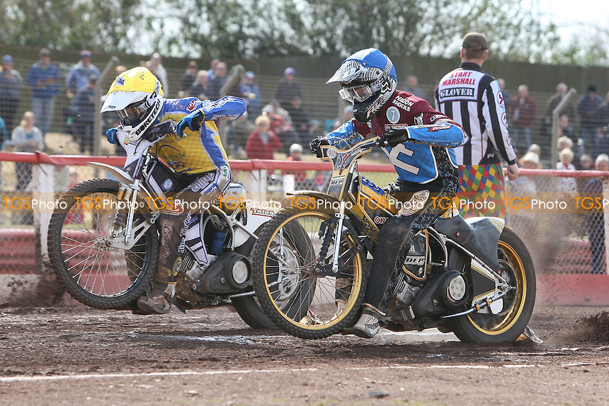 Heat 10: Kim Nilsson (blue) and Cameron Woodward off the start - Lakeside Hammers vs Eastbourne Eagles - Sky Sports Elite League Speedway at Arena Essex Raceway, Purfleet - 06/04/12 - MANDATORY CREDIT: Gavin Ellis/TGSPHOTO - Self billing applies where appropriate - 0845 094 6026 - contact@tgsphoto.co.uk - NO UNPAID USE.