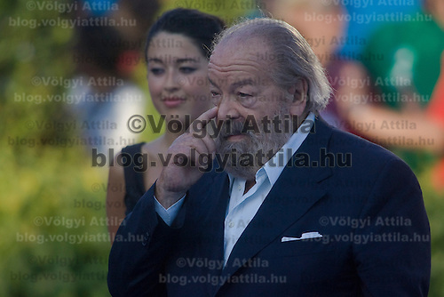Actor Bud Spencer presenting awards to winners of the 200 Women's Backstroke swimming competition during the 13th FINA Swimming World Championships held in Rome, Italy. Friday, 31. July 2009. ATTILA VOLGYI