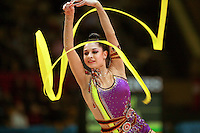 "Anna Gurbanova competing for Azerbaijan waves with ribbon at 2007 World Cup Kiev, ""Deriugina Cup"" in Kiev, Ukraine on March 17, 2007."