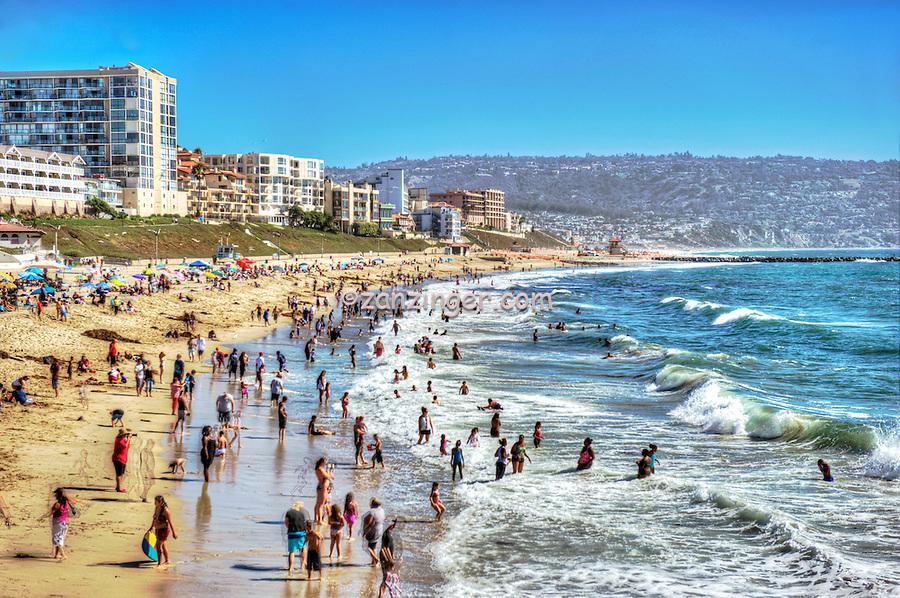 Redondo Beach, Ca, Ocean Swimming, People, Crowded,
