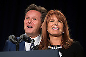 Television producers Mark Burnett, left, and his wife Roma Downey, right, deliver remarks at the National Prayer Breakfast in Washington, DC, USA, 04 February 2016. For 63 years the National Prayer Breakfast has given presidents the  opportunity to gather with members of Congress and evangelical Christians to pray and talk about the role of prayer in their own lives.<br /> Credit: Shawn Thew / Pool via CNP