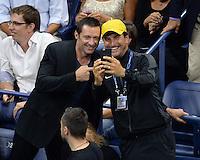 FLUSHING NY- SEPTEMBER 06: Hugh Jackman is seen watching Novak Djokovic Vs Jo Wilfred Tsonga on Arthur Ashe Stadium at the USTA Billie Jean King National Tennis Center on September 6, 2016 in Flushing Queens. Credit: mpi04/MediaPunch