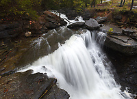 NWA Democrat-Gazette/FLIP PUTTHOFF <br /> Pinion Creek waterfall as seen Oct. 29 2019 from the foot bridge along the Back 40 trail system in Bella Vista.