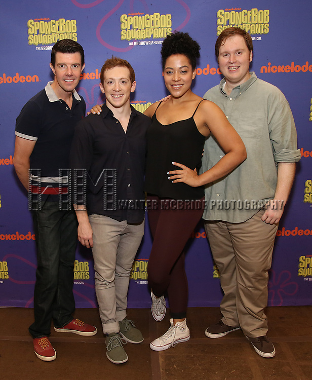 Gavin Lee, Ethan Slater, Lilli Cooper and Danny Skinner during the Rehearsal Press Preview of the New Broadway  Musical on 'SpongeBob SquarePants'  on October 11, 2017 at the Duke 42nd Street Studios in New York City.