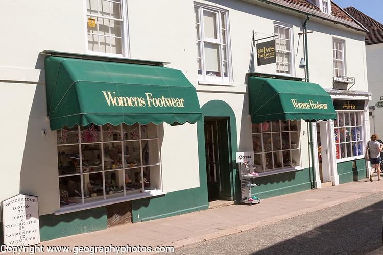 John Ives Women's Footwear shoe shop, Woodbridge, Suffolk, England, UK