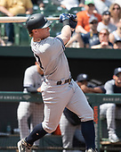 New York Yankees left fielder Clint Frazier (77) hits a solo home run in the second inning against the Baltimore Orioles at Oriole Park at Camden Yards in Baltimore, MD on Sunday, April 7, 2019. <br /> Credit: Ron Sachs / CNP<br /> (RESTRICTION: NO New York or New Jersey Newspapers or newspapers within a 75 mile radius of New York City)