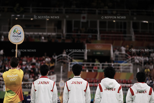 Japan team group (JPN), <br /> AUGUST 8, 2016 - Artistic Gymnastics : <br /> Men's Final  <br /> Pommel Horse <br /> at Rio Olympic Arena <br /> during the Rio 2016 Olympic Games in Rio de Janeiro, Brazil. <br /> (Photo by Sho Tamura/AFLO SPORT)