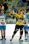 GER - Mannheim, Germany, September 23: During the DKB Handball Bundesliga match between Rhein-Neckar Loewen (yellow) and TVB 1898 Stuttgart (white) on September 23, 2015 at SAP Arena in Mannheim, Germany. Final score 31-20 (19-8) .  Rafael Baena Gonzalez #16 of Rhein-Neckar Loewen<br /> <br /> Foto &copy; PIX-Sportfotos *** Foto ist honorarpflichtig! *** Auf Anfrage in hoeherer Qualitaet/Aufloesung. Belegexemplar erbeten. Veroeffentlichung ausschliesslich fuer journalistisch-publizistische Zwecke. For editorial use only.