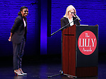 Stacey Derosier and Daryl Roth on stage during the 9th Annual LILLY Awards at the Minetta Lane Theatre on May 21,2018 in New York City.