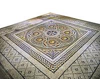 Roman mosaics - Geometric Mosaic. Dionysus Villa Ancient Zeugama, 2nd - 3rd century AD . Zeugma Mosaic Museum, Gaziantep, Turkey.  Against a white background.