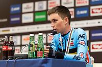 Picture by Richard Blaxall/SWpix.com - 28/09/2018 - Cycling 2018 Road Cycling World Championships Innsbruck-Tirol, Austria - Men's U23 Road Race - Bjorg Lambrecht of Belgium winning Silver, Press Conference