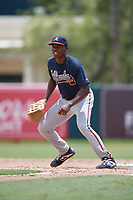 GCL Braves first baseman Mahki Backstrom (40) during a Gulf Coast League game against the GCL Orioles on August 5, 2019 at Ed Smith Stadium in Sarasota, Florida.  GCL Orioles defeated the GCL Braves 4-3 in the second game of a doubleheader.  (Mike Janes/Four Seam Images)