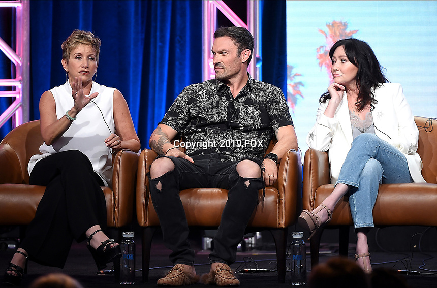 2019 FOX SUMMER TCA: (L-R): BH90210 cast members Gabrielle Carteris, Brian Austin Green and Shannen Doherty during the BH90210 panel at the 2019 FOX SUMMER TCA at the Beverly Hilton Hotel, Wednesday, Aug. 7 in Beverly Hills, CA. CR: Frank Micelotta/FOX/PictureGroup
