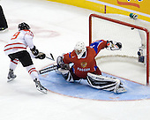 John Tavares (Canada - 19), Vadim Zhelobnyuk (Russia - 1) - Canada defeated Russia 6-5 on Saturday, January 3, 2009, at Scotiabank Place in Kanata (Ottawa), Ontario during the 2009 World Junior Championship.