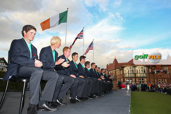 View down the team bench during the closing ceremony at The Walker Cup 2015 played at Royal Lytham and St Anne's, Lytham St Anne's, Lancashire, England. 13/09/2015. Picture: Golffile | David Lloyd<br /> <br /> All photos usage must carry mandatory copyright credit (&copy; Golffile | David Lloyd)