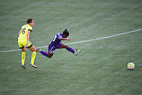 Orlando, Florida - Sunday, May 8, 2016: Orlando Pride forward Jasmyne Spencer (23) is fouled by Seattle Reign FC defender Carson Pickett (16) during a National Women's Soccer League match between Orlando Pride and Seattle Reign FC at Camping World Stadium.
