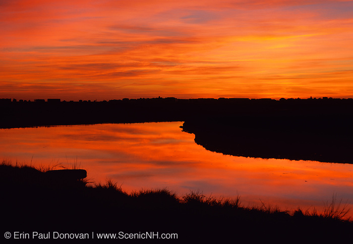 Salt marshes in Hampton, New Hampshire USA at sunrise.