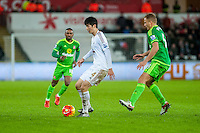 Ki Sung-Yueng of Swansea ( will ball ) in action during the Barclays Premier League match between Swansea City and Sunderland played at the Liberty Stadium, Swansea  on  January the 13th 2016