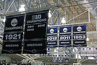 STATE COLLEGE, PA - FEBRUARY 16: Penn State Nittany Lion wrestling banners hang from the ceiling during a match against the Oklahoma State Cowboys on February 16, 2014 at Rec Hall on the campus of Penn State University in State College, Pennsylvania. Penn State won 23-12. (Photo by Hunter Martin/Getty Images) *** Local Caption ***