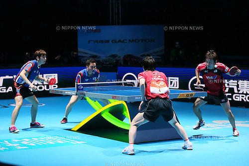 (L to R) <br /> Kenta Matsudaira, <br /> Koki Niwa (JPN), <br /> DECEMBER 13, 2014 - Table Tennis : <br /> GAC Group 2014 ITTF World Tour Grand Finals <br /> Men's Doubles Final <br /> at Indoor Stadium Huamark, Bangkok, Thailand <br /> (Photo by YUTAKA/AFLO SPORT) [1040]