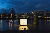 London, UK. 31 August 2016. Floating Dreams is an illuminated, large scale floating installation by Ik-Joong Kang, one of South Korea's most renowned artists. It depicts the memories of displaced Koreans and calls for the reunification of North and South Korea. Ik-Joong Kang's sculpture is part of Totally Thames Festival and is situated in the River Thames by the Millennium Bridge and illuminated from within from 7.30pm onwards from 1 to 30 September 2016.