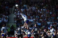 Filo Paulo of Samoa just misses reaching the ball at a lineout. Rugby World Cup Pool B match between Samoa and the USA on September 20, 2015 at the Brighton Community Stadium in Brighton, England. Photo by: Patrick Khachfe / Onside Images