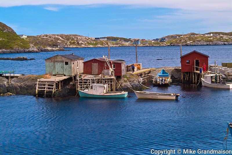 Fishing shacks on the Atlantic coastline<br /> Burnt Islands<br /> Newfoundland <br /> Canada