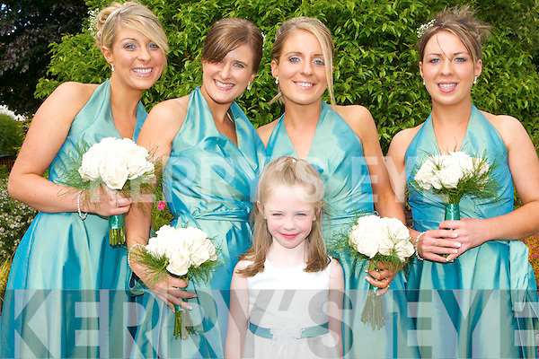 Bridemaids and flowergirl at the wedding of Aoife O'Connor and Brendan O'Mahony in St Marys Immaculate Church, Newmarket on Friday l-r: A?ine O'Connor, Densie Costello, Niamh and Sinead O'Connor and Megan O'Connor..   Copyright Kerry's Eye 2008