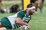 Peter White scores Manurewa's fourth try. Counties Manukau Premier Counties Power Club Rugby Round 4 game between Bombay and Manurewa, played at Bombay on Saturday March 31st 2018. <br /> Manurewa won the game 25 - 17 after trailing 15 - 17 at halftime.<br /> Bombay 17 - Ki Anufe, Chay Macwood tries, Tim Cossens, Ki Anufe conversions,  Ki Anufe penalty. <br /> Manurewa Kidd Contracting 25 - Peter White 2 , Willie Tuala 2 tries, James Faiva conversion,  James Faiva penalty.<br /> Photo by Richard Spranger.